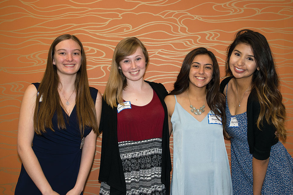 2017 scholarship recipients, left to right: Carissa Gibson, Jenna Livingston, Nathania Duarte and Daniela Reynolds; photo by Eileen Sykora
