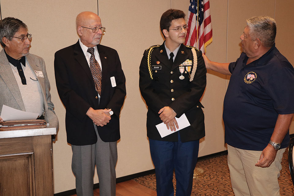 Left to right: Tom Contreras, Richard Newman, Cadet Command Sergeant Major James Quijada, Army JROTC, Rio Rico High School and Rene Gill, Quail Creek Veterans Golf Association; photo by John McGee