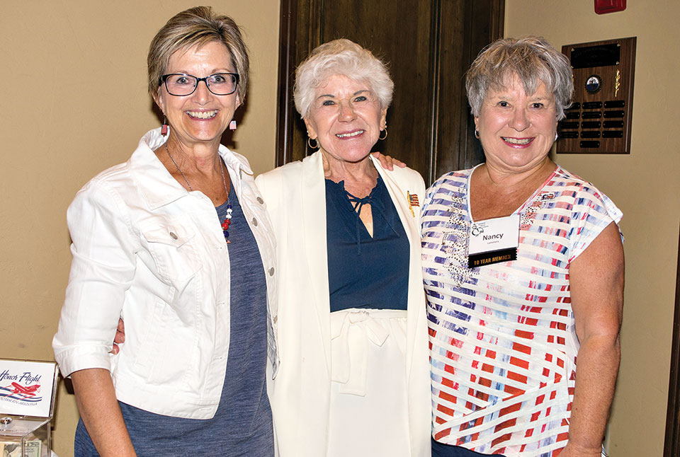 Left to right: Kathy Mansur, Jan Haeger and Nancy Lammers, TWOQC Honor Flight Coordinator; photo by Eileen Sykora