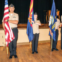 Cadets prepare to post the Colors; photo by Eileen Sykora