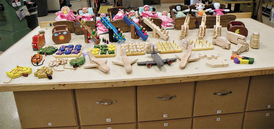45 wooden toys were donated to the Tucson Medical Center Hospital.