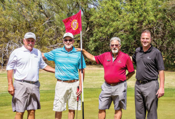 The Shoot Out winners, left to right: Tom Brennan and Randy Aldrich with Invitational Chairman Tom Dunipace and Head Golf Pro Joel Jaress