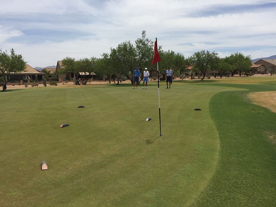 Revenge 1: David Ray, Jim Hart and Tommy Murray study tee markers that have found their way onto this green as immovable obstacles.