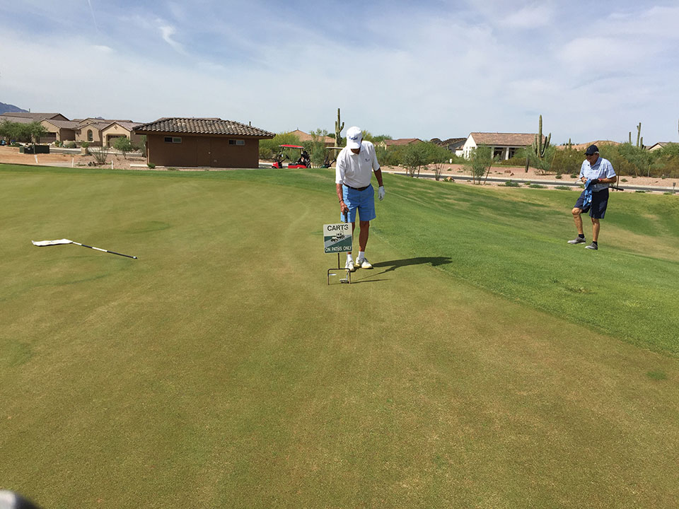 Revenge 2: Jim Haart and David Ray ponder on how to navigate a No Carts sign placed strategically near the hole on Roadrunner No. 6 green.