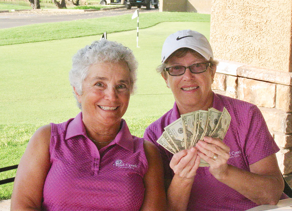 Peg Avent and Cheryl Opsal, co-chairs of Quail Creek's Ladies 18 Hole Interclub League, get ready to host the fifth interclub game of the season on August 2. Photo by Terri Erickson