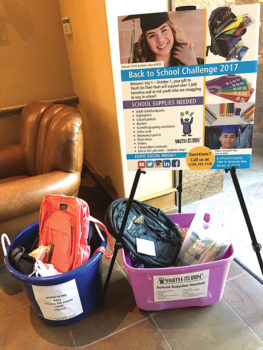 School supplies collected in Quail Creek during the early days of the campaign; photo by Diane Quinn
