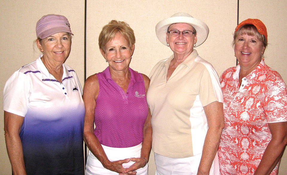 Flight One first place winners Peggie Sullenberger, Kathy Brennan, Sherry Courson and Robin Stirn