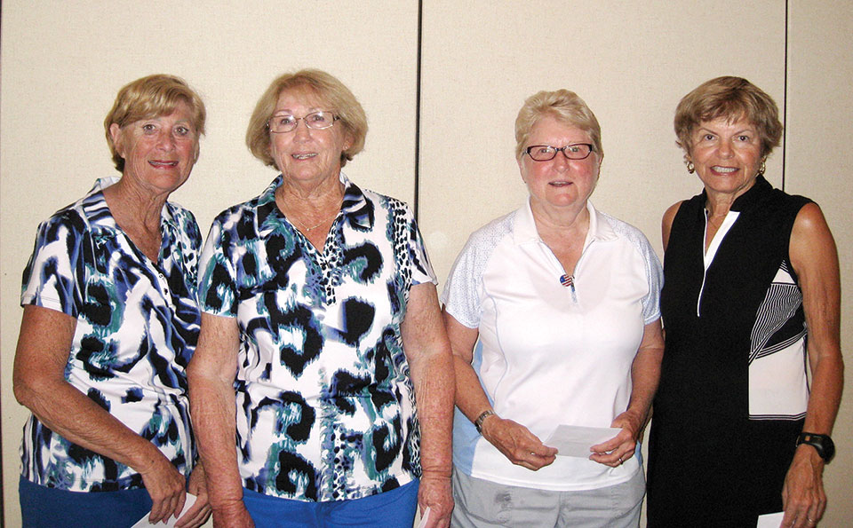 Flight One second place winners Carol Clifford, Rose Rubio, Sherry Caldwell and Alice Dyke
