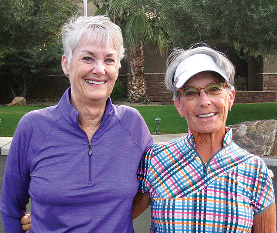 Bonny Wilcox and Sherry Morris, co-chairs, welcome the ladies at the early morning shot gun gathering.