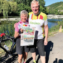 Jim and Jill Eisele recently bicycled their way through Dordogne, France with their copy of the Crossing.