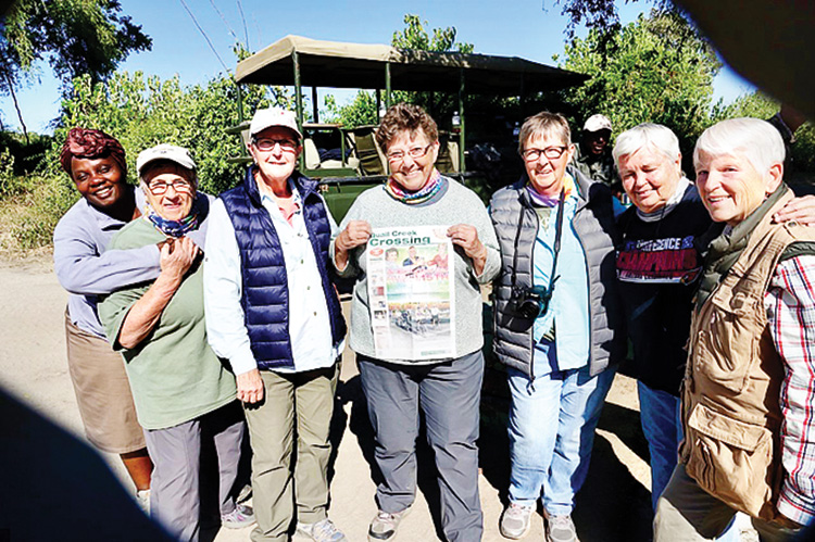 Quail Creek residents Kay McDaniel, trip guide Pricillah Marira, Judith Praul, Novalyn Winfield, Carol Parisi, Mary Jean Burns, Candy Plumlee and Joyce Butler all enjoyed a South African safari in Botswana.
