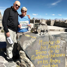Ruth and Bill Maki viewed the Central Andes Volcanic Range in Peru at 16,109 ft. Of course, they traveled with their copy of the Crossing.