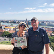 Lindsay and Dave Dickinson scanned the skyline in Budapest as they cruised the Danube.