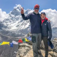 Dr. John Klein and Trekker Guide Deepak with Mt. Everest behind them.