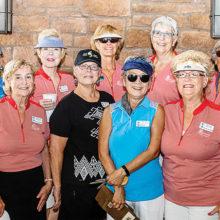 Putters/Duffers committee included (left to right): Diane Gordon, Marilyn Burkstrand, Joyce Walton, Monte Hudson, Jill Wibbenhorst, Jackie Coombs, Janet Wegner, Sharon Schoen, and Saville Gardner.