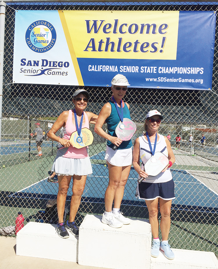 Left to right: Patty Chess, silver medal; Donna Hoshide, gold medal; and Pam Leslie, bronze medal.