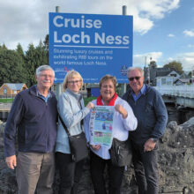 "Looking for ""Nessie"" at Loch Ness, Scotland were Paul and Cindy Wolf with Marge and Jon Lind and of course, the Crossing."