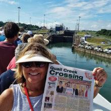Barb Hunsinger at the Panama Canal locks.