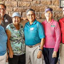 Left to right: Nancy McDaniels, Lou Moultrie, Kathy Olbeter, Al Olbeter, Joyce Walton, and Yoshie Hennessy were on one of the teams that tied for first place; Photo by Jim Burkstrand.