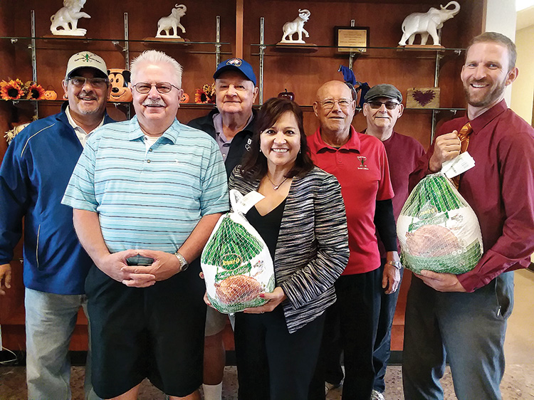From left to right: Duffer President Ed Pope, past President John Peters, past President Bill Trefethan, District Superintendent Roxana Rico, past President Ron Courson, Duffer Donation Coordinator Ron Macuga, and Director of Student Services Steve Lane.