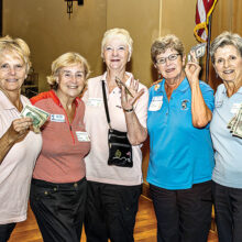 The second place team members were (left to right): Diane Kirstin, Marilyn Burkstrand, Norma McCaleb, Gail Scheibner, and Lou Moultrie; Photo by Jim Burkstrand.
