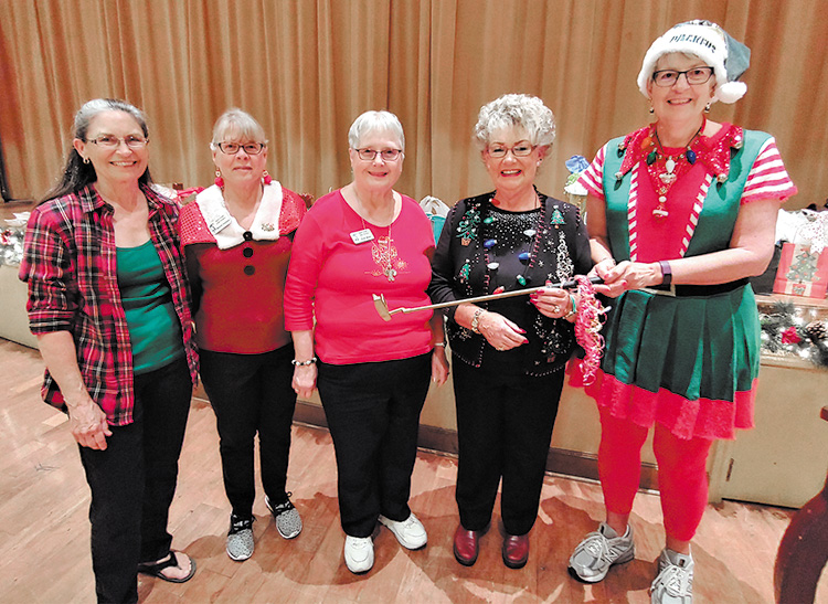 The Board of Officers for 2020 for the Lady Putters was sworn in at the holiday luncheon. They include (left to right): Lynda Pilcher, Treasurer; Monte Hudson, Secretary; Vicki Mahr, Membership; Sharon Schoen, Vice President; and Janet Wegner, President; Photo by Sylvia Butler.