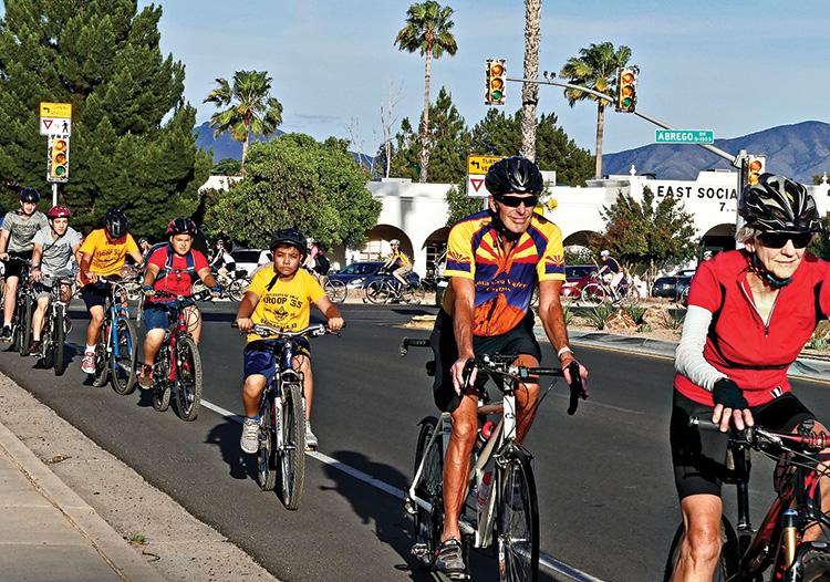 Riders head north on LaCanada.