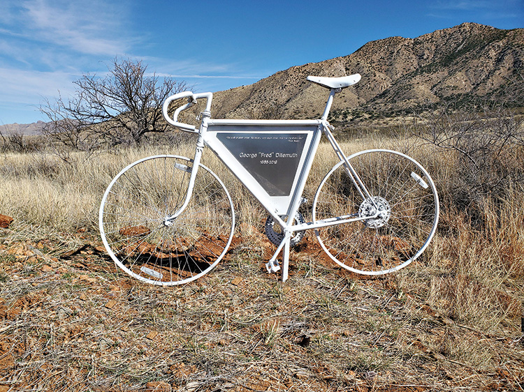 The ghost bike in memory of Fred Dillemuth.