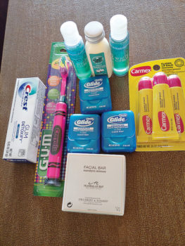 Hygiene products for homeless and hospitalized veterans.