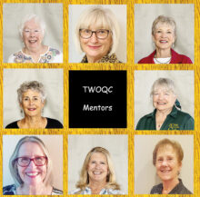 Top row (left to right): Clarice Sullivan, Patricia Fina Weaver, and Jeri Collins; middle row: Patty Zatkin and Suzan Bryceland; bottom row: Janice Pell, Sandi Beecher, and Chris Webber. All of the mentors look forward to the time when they can get together with their mentees, perhaps at lunch or at least for a cup of coffee. (Photo by Jim Burkstrand)