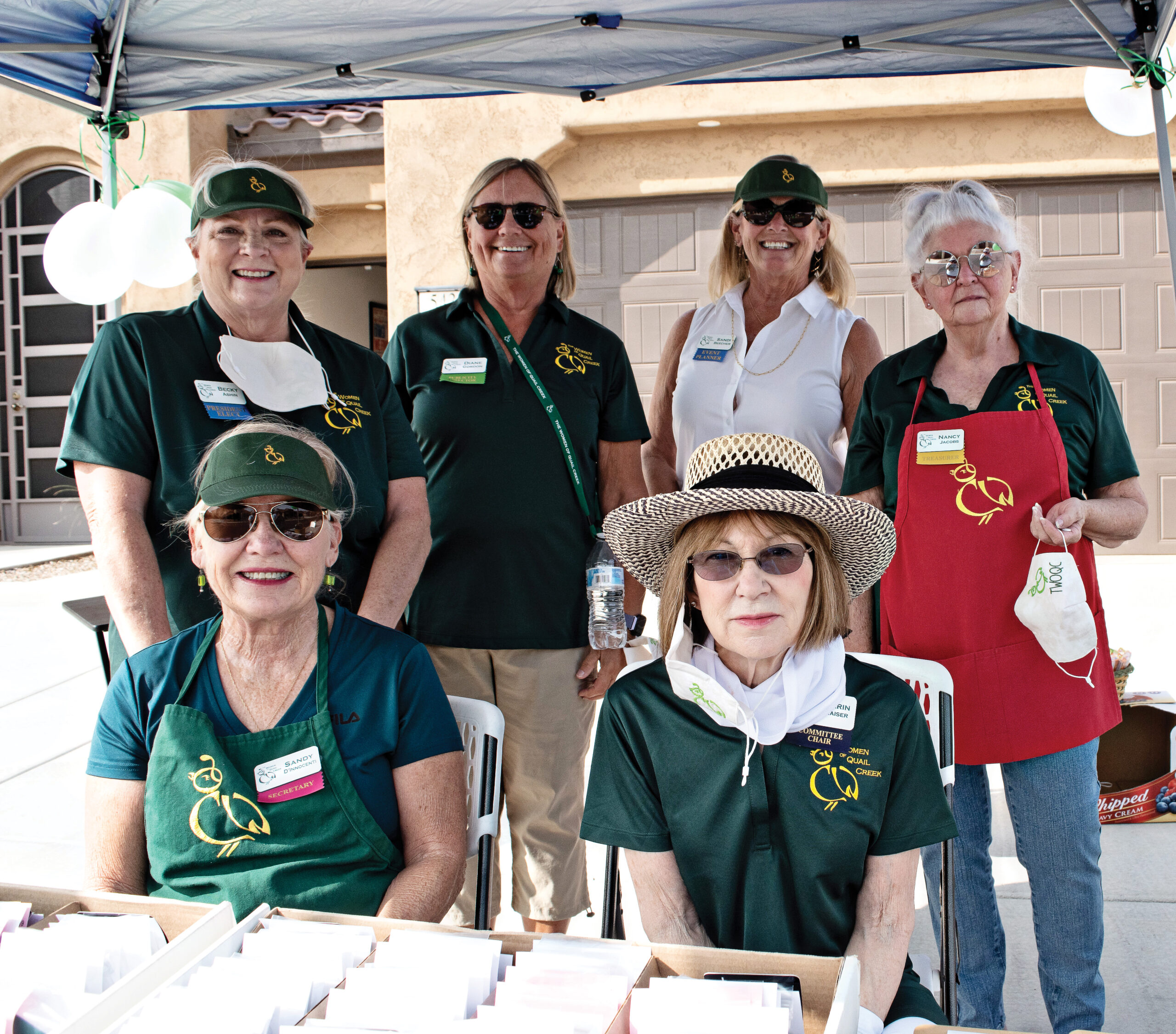 Six women who volunteered at one of the locations. Back: Becky Ashin, Diane Gordon, Sandi Beecher, and Nancy Jacobs. Front: Sandy Dinnocenti and Carin Kaiser.