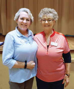 Lydia Lukins (left), shown with Sharon Schoen, was the last Lady Putter to receive the Coveted Quail before the putting green was closed in March. (Photo by Sylvia Butler)