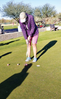 Janet Wegner demonstrated the 1-3-5 challenge, which is guaranteed to help improve one's putting skills.