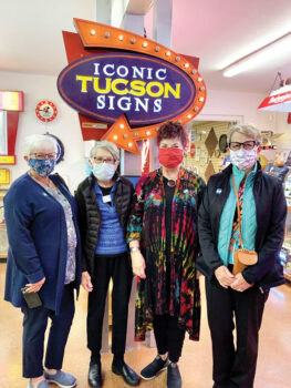 Karen Woodrow, Bonnie Hyra, Brenda Rock, and Pat Neel visit the sights and signs at the Tucson Ignite Museum.
