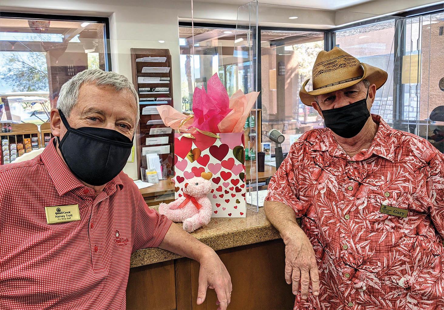 Pro Shop staff Harvey Trott and Gary Adkins