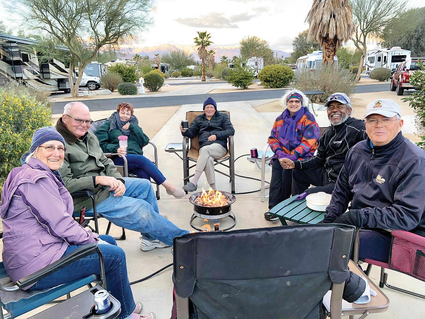 Quail Creek RV Club members enjoy a nightly campfire.