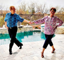 The dance models are Gary and Penny Marshall, who love to dance for a fun form of exercise. They only needed minimal instruction to strike this picture-perfect Rumba pose.